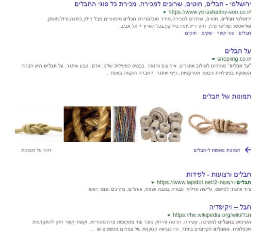 דף תוצאות החיפוש